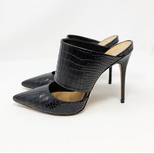 SCHUTZ Croc Effect Leather Pointed Toe Mules Heels